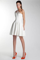Basil Soda 2014 One Shoulder Beads Pleat Knee Length Party D...