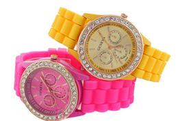 Wholesale - 100PCS Silicone watch diamond fashion watches GENEVA Geneva