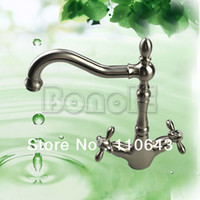 Basin Faucets Single Hole Contemporary New Contemporary Bathroom Brushed Nickel Faucet Vessel Sink Lavatory Vanity Dual-handle Basin Faucet Mixer Tap JN9456 2504