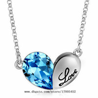 Wholesale Austrian crystal necklace sterling silver jewelry double heart pendant necklace with Swarovski crystals Heart Pendant y010