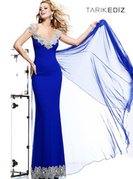 Formal Evening Dresses Mermaid Off Shoulder Royal Blue Chiffon Appliques Beads Backless Prom Gowns Custom Made