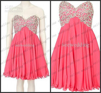 Reference Images Strapless Chiffon 2014 Trendy Short Coral A Line Strapless Sweetheart Embroidered Beads Junior Bridesmaid Dresses Mini Corset Prom Dresses Pm1037
