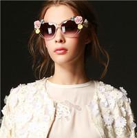 Resin Lenses Fashion Cat Eye 2014 Wholesale Extravagant Baroque style glasses Soft ceramic roses Sunglasses