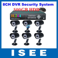 Wholesale CH DVR Kit with G HDD with Sharp CCD Outdoor Camera CCTV System