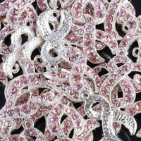 Wholesale 100pcs Silver plated Pink Crystal Rhinestone Ribbon Breast Cancer AWARENESS Charms Dangle Beads Pendant Jewelry Findings