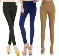 Wholesale M XL Women Plus Size Summer Skinny Pencil Legging pants Brand Spring High Waist Stretchy Buttoming Short Thin Leggings Trousers