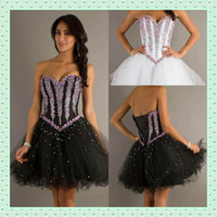 Wholesale Little White Black Graduation Dresses for th Grade Tulle Shiny Colorful Beading Sequins Corset Short Prom Women Party Gowns Mini DX623