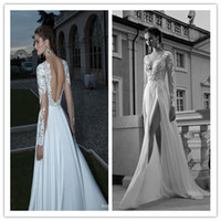 A-Line Reference Images V-Neck Berta Bridal 2014 Lace Bodice Sexy V-Neck With Long Sheer Sleeve A-Line Backless Wedding Bridal Gown Floor-length Chiffon Prom Dress