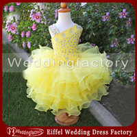 Wholesale Cutest Yellow Cupcake Dress Ball Gown Asymmetrical Neck Girl s Pageant Dresses Crystal Ruffle Tutu Toddler Formal Gown