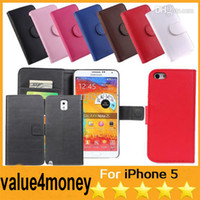 For Apple iPhone Leather For Christmas High Quality Flip Wallet PU Leather Cover Case Cases With Card Slots For Iphone 4 4S 5 5S 5C Galaxy Note 3 2 S2 S3 S4 S5 Colorful 200pcs