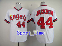 Baseball los angeles - los angeles baseball jerseys quot Angels quot Reggie Jackson white vintage style jersey Cooperstown Collection embroidered baseball uniforms