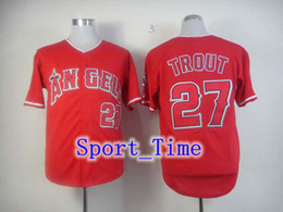 Wholesale LA Angels Mike Trout Red Baseball Jerseys Embroidery logos authentic baseball shirts new season high quality cool base sportswear