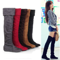 Knee Boots over knee high heel boots - 2014 Spring New Brand Red Leopard Black Suede Flat Bottom Low Heel Over The Knee Thigh High Women Boots For Summer Plus size