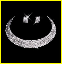 Wholesale New Designer Sexy Charming Diamond Earrings Necklace Brides Jewelry Set Wedding Bridal Accessories