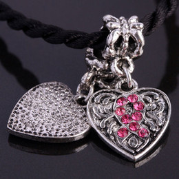 Wholesale 50pcs Antique silver t Pink Ribbons Breast Cancer Awareness Crystal Rhinestone Heart Beads Fits European Bracelet Chain Jewelry Findings