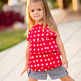 Wholesale Retail New chiffon Polka Dot Halter t shirt jeans Shorts clothes set girls summer clothes baby shorts pc set lxm L