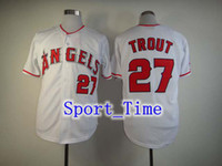 Baseball Men Short 2014 new fashion baseball uniform LA Angels #27 Mike Trout Grey embroidered Cool Base jersey authentic baseball jerseys for men HOT SALE