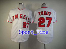 Wholesale 2014 new fashion baseball uniform LA Angels Mike Trout Grey embroidered Cool Base jersey authentic baseball jerseys for men HOT SALE