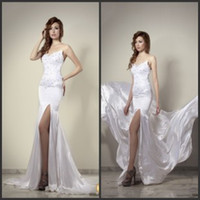 Trumpet/Mermaid Reference Images Sweetheart Hassan Mazeh 2014 Vintage Sweetheart Front Slit Stretch Satin Sleeveless Beaded Appliques Mermaid Prom Dresses Sexy Mermaid Wedding Dresses