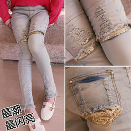 Wholesale Girl Clothes Ripped Jeans Denim Trouser Girls Jeans Child Clothing Skinny Jeans Kids Pants Children Jeans Long Trousers Slim Jeans Kids Wear