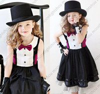 american jazz - Retail new Jazz style gentleman black dress with rose tie bow belt kids girls dress girl party dress casual baby dress tcq