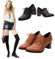 Wholesale New Classics Women Lace Up Oxford Heels Shoes Boots Boots Low Heels Ankle Boot