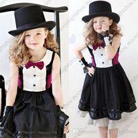 Wholesale 2015 baby dresses Jazz style gentleman dress with rose tie bow belt kids girls dress girl party dress casual baby dress tcq