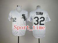 Wholesale White Sox Adam Dunn White Baseball Jerseys Cool Base Embroidery logos pinstripe softball uniform kits breathable best sports jerseys