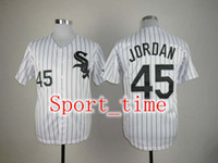 Wholesale White Sox Michael Jordan White Home Baseball Jersey Mens Pinstripe embroidered softball jersey high quality breathable baseball uniforms