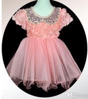 Wholesale 2014 girls dress Sheet metal lapel lace veil dimensional rose skirt cute doll collar dress