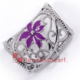 12PCS LOT New Fashion DIY Jewelry Necklace Scarf Pendant Metal Alloy Charm Purple Flower Slide Bails Tube, Free Shipping, AC0265A