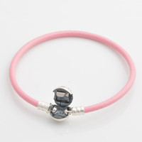 Charm Bracelets Other Women's 925 Sterling Silver Strength Pink Smooth Single Leather Starter Bracelet with Round Clasp For European Charms and Beads