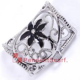 12PCS LOT New Fashion DIY Jewelry Scarf Pendant Metal Charm Black Flower Pendant Scarf Hollow Out Slide Bails Tube, Free Shipping, AC0265E