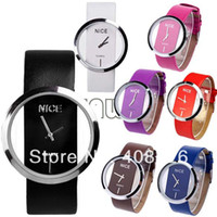 Wholesale 10PCS New Fashion Ladies Watch Simple Transparent Dial Quartz Wrist watch with PU Leather Strap Colors drop Shipping