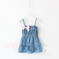 TuTu Summer Pleated New Fashion kids summer dress baby Girl bow denim sleeveless vest dress sling dress jeans dress Sundress princess dress