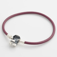 Charm Bracelets Other Women's 925 Sterling Silver Strength Purple Smooth Single Leather Starter Bracelet with Round Clasp For European Charms and Beads
