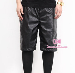 Hip Hop Gold Zippers Fashion Faux PU Leather Men Shorts   Elastic Waist Breathable Men pant Black shorts Adjustable Casual Shorts M-3XL