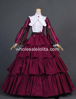 Crew civil war clothing - New Civil War Striped Puff Sleeved Tiered Ball Gown Dress Reenactment Clothing Stage Wear Prom Dresses Halloween Costume