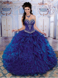 Wholesale Hot New Fashionable Sweetheart Neck Beaded Organza Sweep Sweet Royal Blue Quinceanera Dresses Prom Dresses