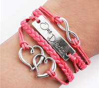 Wholesale 1D One Direction Love Infinity Wrap Leather Bracelets Multilayer Handmade Charm Bracelets Wristbands Forever Fans ID Bracelets SZ255