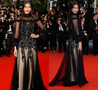 Reference Images High Neck Tulle Sonam Kapoor Gorgeous High Neck Long Sleeves Black Celebrity Inspired Dress Sheath Lace Appliques Evening Special Occasion Gowns
