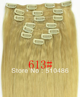 "Brazilian Hair Ombre Color Straight Women Hot New Fashion Women 613# color 20"" 22""100g Clip In Human Hair Extensions Brazilian Remy Virgin Hairpiece Free Shipping"