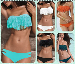 Wholesale Beauty Women Favor Padded Boho Fringe Top Strapless Bikini set Sexy Swimsuit Top and Bottoms Swimwear
