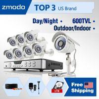 Box/Body ZMD-KDB8-CARBZ8ZN-1TB 8CH H.264 StandAlone DVR Zmodo 600TVL High Resolution CCTV Kits 8CH home Surveillance Camera System with 8 Outdoor indoor Security Cameras 1TB HDD