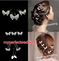 Fascinators Rhinestone/Crystal  Free Shipping U Shape Bow Butterfly Wedding Bridal Hair Pin Hair Clip Hair Accessories