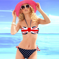 Women bandeau bikini swimwear - swimsuit swimwear Women Sexy bikini STARS STRIPES USA Flag PADDED TWISTED BANDEAU swim suit tube swim wear