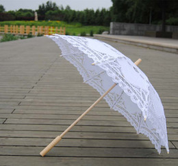Wholesale TOP quality Lace Parasol Sun Umbrella Black White Parasol lace Umbrella Wedding Bridal