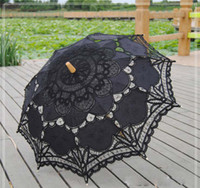 Wholesale Fedex Lace Parasol Sun Umbrella Black White lace wedding Bridal Umbrella