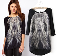 Wholesale European Style Women Fashion Long Shirt Peacock Tail Feather Printed Asymmetric Hem Back Zip T Shirt Half sleeve Tops Blouse Tees S M L