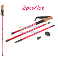 Plastic Wood 17489# 2PCS LOT Adjustable Alpenstock 3-Step Aluminum Alloy Telescopic Outdoor Trekking Walking Stick Cork Handle Bar Hiking Pole 17489